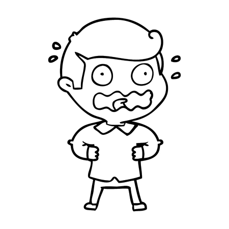 A cartoon of man totally stressed out on white background.