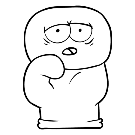 흰색 배경에 권투 장갑의 만화입니다. 일러스트