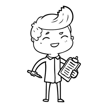 흰색 배경에 웃음 세일즈 맨의 만화입니다.