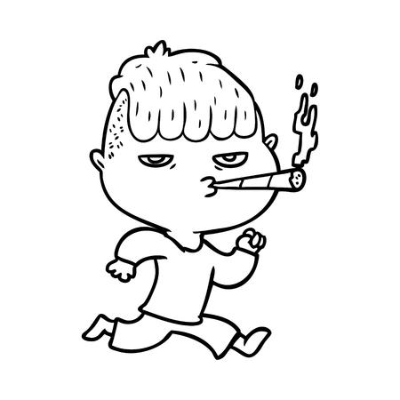 흰색 배경에 실행하는 동안 흡연하는 남자의 만화.
