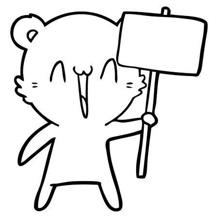 Black and white happy bear cartoon Ilustração