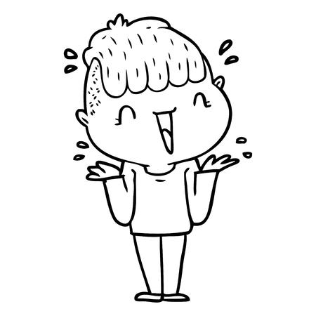 Black and white cartoon happy boy surprised Illustration