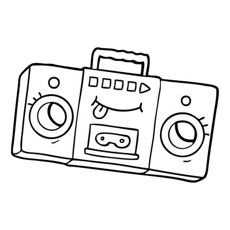흑인과 백인 만화 레트로 카세트 테이프 플레이어