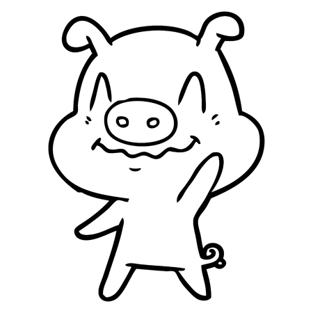 Black and white nervous cartoon pig waving