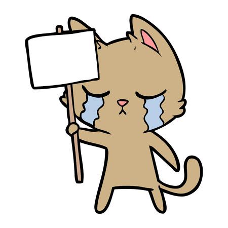crying cartoon cat Vectores