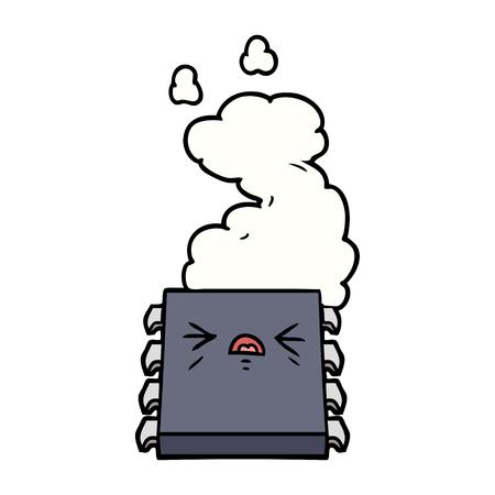 만화 과열 컴퓨터 칩 흰색 배경에 고립 된 일러스트