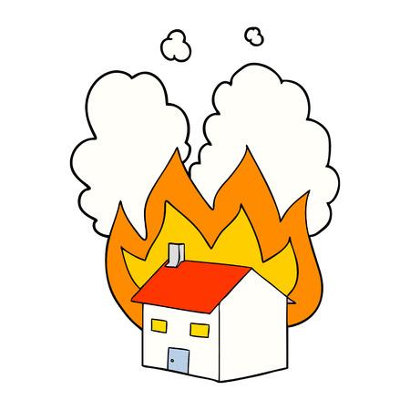 Cartoon burning house isolated on white background
