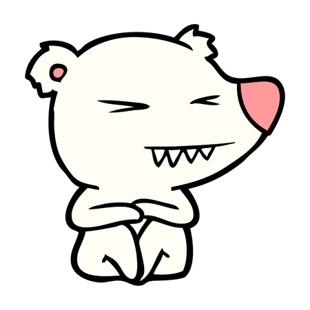 Angry polar bear cartoon sitting