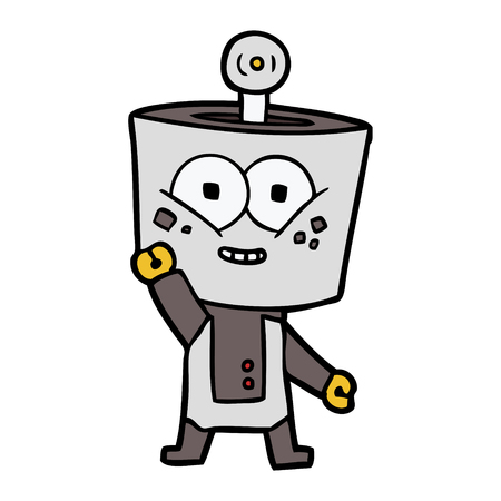 Happy cartoon robot waving hello Stock Vector - 94847510