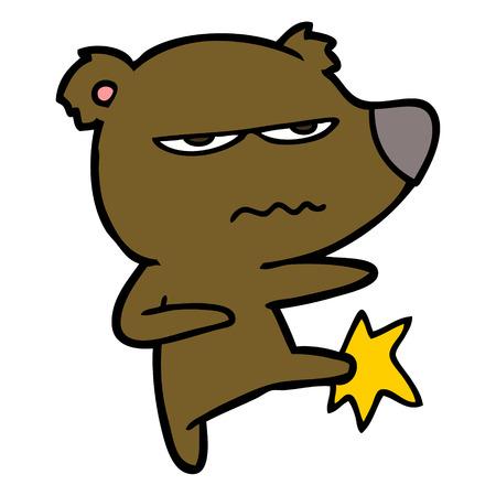 화난 곰 만화 발길질 일러스트