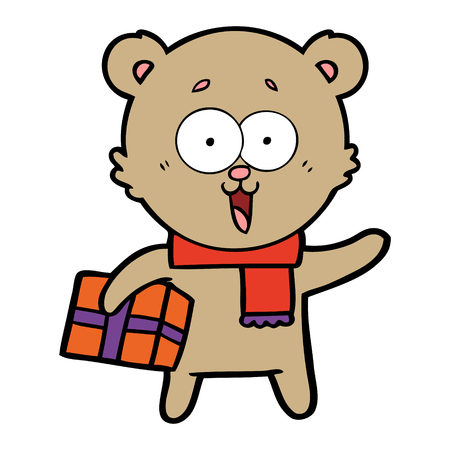 Laughing teddy bear with christmas present Illustration