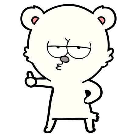 bored polar bear cartoon giving thumbs up sign
