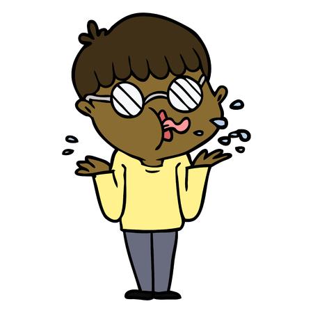 cartoon boy wearing spectacles shrugging shoulders