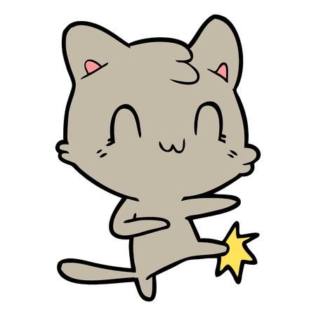 cartoon happy cat karate kicking