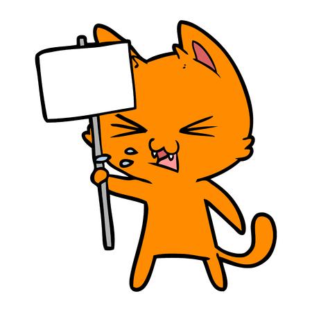 cartoon cat protesting