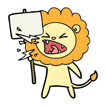 cartoon roaring lion protester