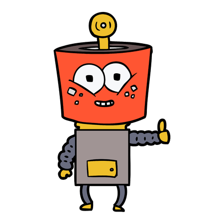 happy cartoon robot giving thumbs up