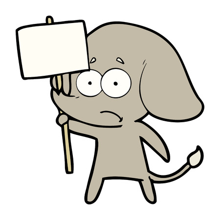 cartoon unsure elephant with protest sign Illustration