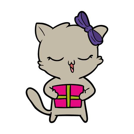 Chat de fille de dessin animé avec le cadeau de Noël Banque d'images - 94879783