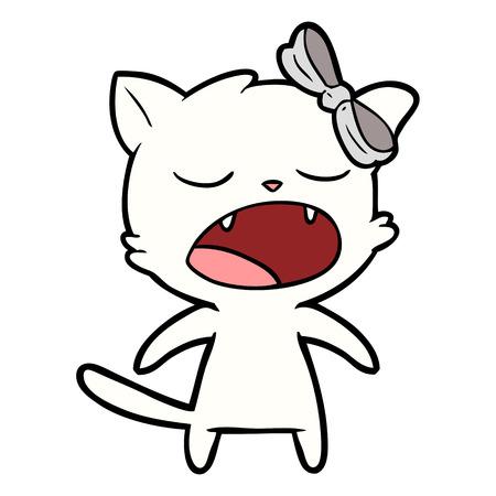 cartoon meowing cat Illustration