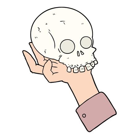 頭蓋骨を保持する漫画の手