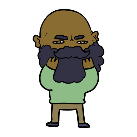 cartoon man with beard frowning checking his beard