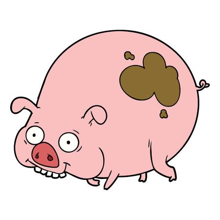 Hand drawn cartoon muddy pig Illustration