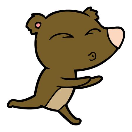 Hand drawn cartoon running bear