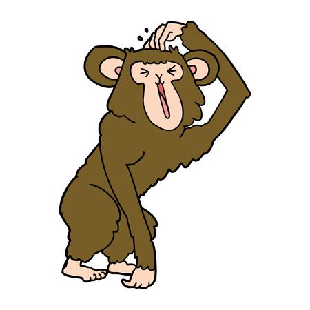 Hand drawn cartoon chimp scratching head Illustration