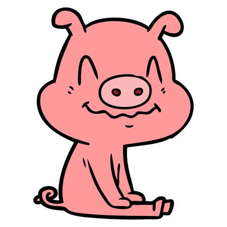 신경 만화 돼지 앉아
