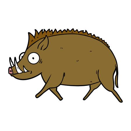 cartoon wild boar Illustration