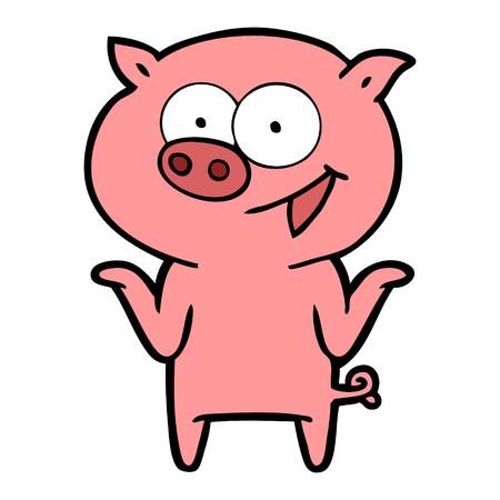 Hand drawn cartoon pig with no worries