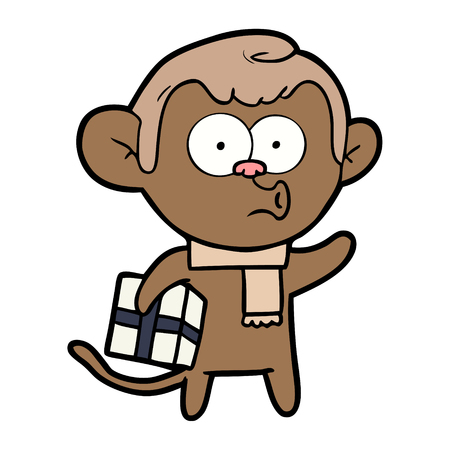 Hand drawn cartoon Christmas monkey Illustration
