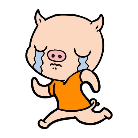 Hand getekend cartoon varken huilen weglopen