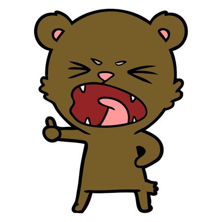 화난 만화 곰 일러스트