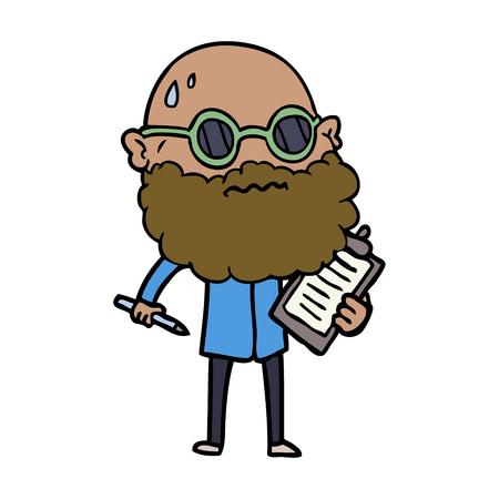 Hand drawn cartoon worried man with beard and sunglasses taking survey