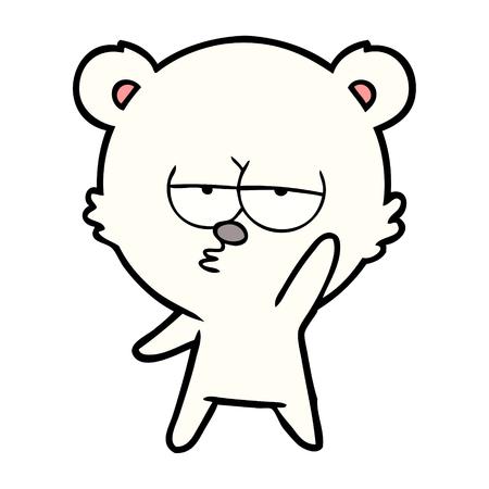 Hand drawn bored polar bear cartoon