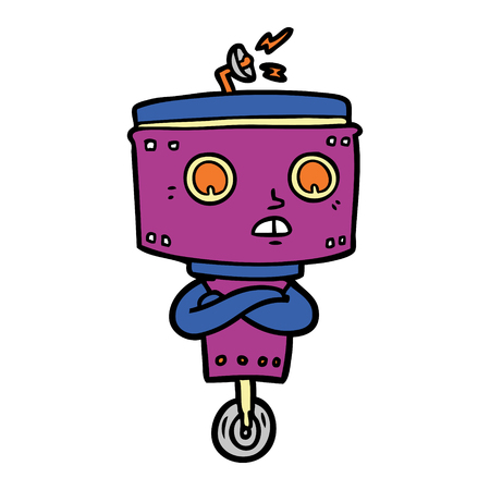 Hand drawn cartoon robot with crossed arms