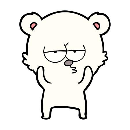 Hand getekend verveeld ijsbeer cartoon