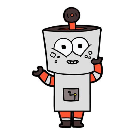 Hand gezeichneter glücklicher Karikaturroboter, der hallo wellenartig bewegt Standard-Bild - 94978409