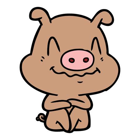 nervous cartoon pig sitting Ilustração