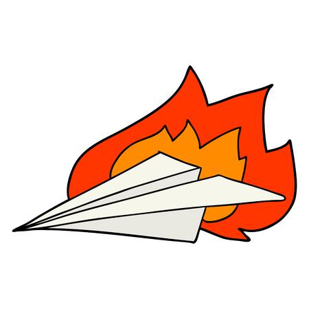 cartoon brandend papieren vliegtuigje Stock Illustratie