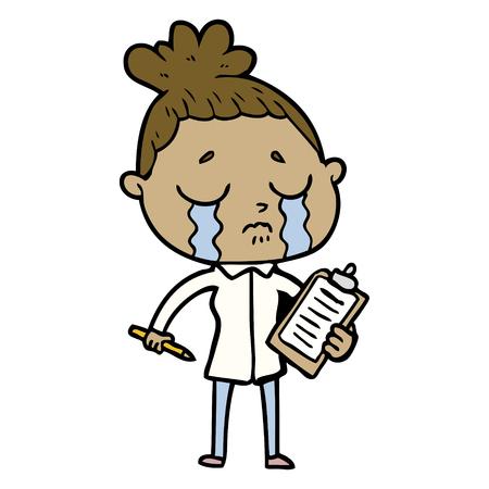 Hand drawn cartoon crying saleswoman 矢量图像