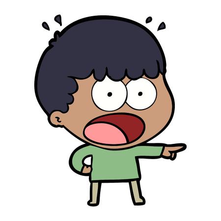 dessin animé homme choqué pointant