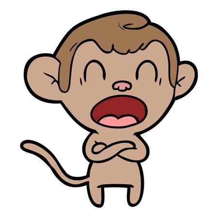 shouting cartoon monkey Illusztráció