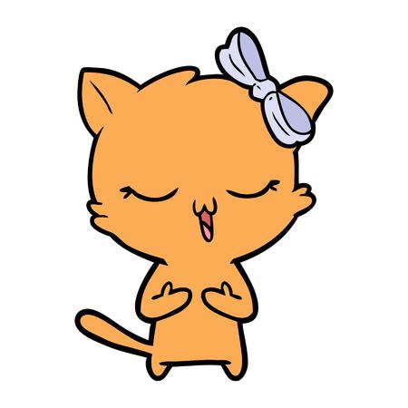 cartoon cat with bow on head