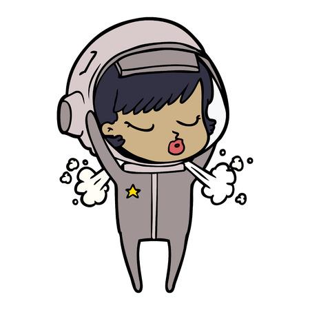cartoon pretty astronaut girl taking off helmet