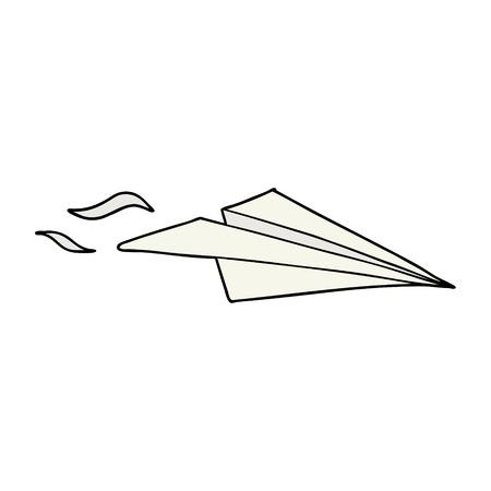 cartoon papieren vliegtuigje