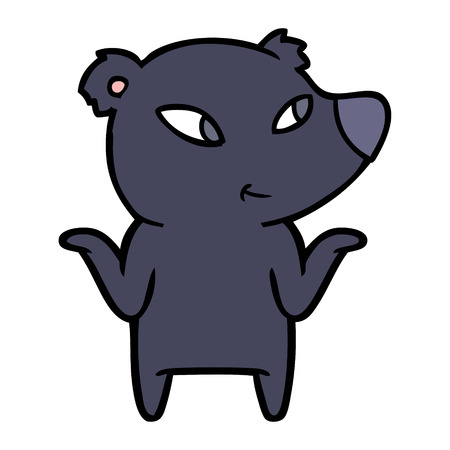 cute cartoon bear shrugging shoulders Çizim
