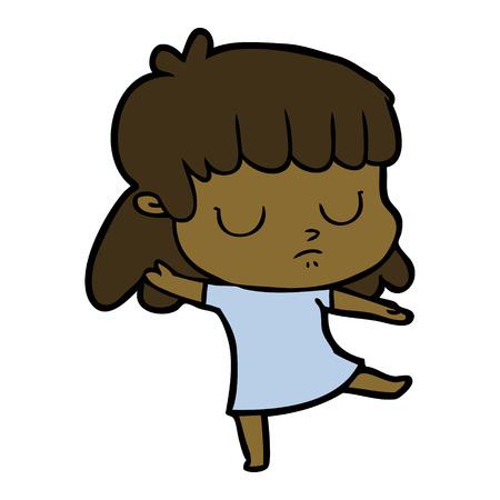 cartoon indifferent woman dancing Illustration